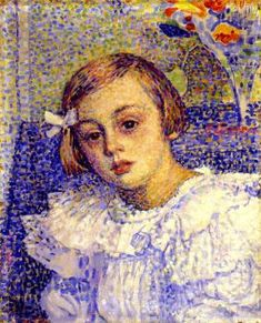 Elisabeth van Rysselberghe, 1897-98 - Theo van Rysselberghe (1862-1926) Belgian painter  (1862-1926) is usually classified as a Post-impressionist or a Pointillist. He discovered Impressionist painting & then the Pointillism of Seurat and soon becoming friends with others working in that style. However, van Rysselberghe usually tempered Pointillism, especially when painting portraits or otherwise incorporating people in his images