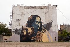 """""""Protectors"""" Street Mural by Kiptoe [Done with only a paint roller]"""