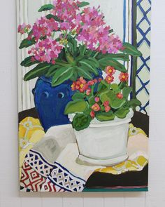 I bought a new flower pot. You will see it over and over again in my next several paintings. Painting Flowers Tutorial, Flower Tutorial, Flower Art, Art Flowers, Westies, Still Life, Planter Pots, Abstract Art, Projects To Try