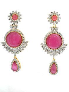 ❀Pink Beautiful Earings❀ Stylish Designer #Beautiful Earring of AD Stones With Beautiful Multi color Semi Precious Stone  Buy Now ▶  http://www.styyo.com/pink-beautiful-earings/pid=MjA3
