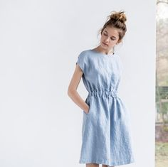 Bluish grey basic linen dress with elastic waistband