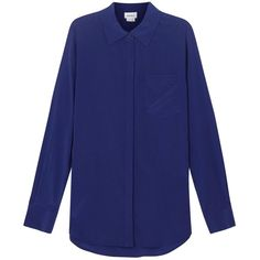 Womens Blouses DKNY Royal Blue Stretch Silk Shirt (18.140 RUB) ❤ liked on Polyvore featuring tops, blouses, dkny shirts, shirt top, royal blue shirt, blue top and royal blue blouse