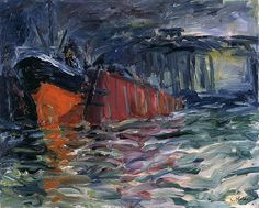 Ship in Dock, 1910, Emil Nolde. German Expressionist Painter (1867 - 1956)