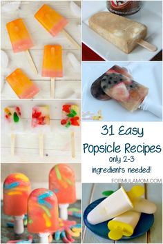 31 Easy Popsicle Recipes (only ingredients needed!) These ice pop recipes are perfect for summer! Cold Desserts, Frozen Desserts, Frozen Treats, Easy Desserts, Delicious Desserts, Yummy Food, Summer Desserts, Ice Pop Recipes, Snack Recipes