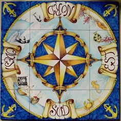 Pirate Compass, Wind Rose, Paint Fireplace, Tadelakt, Italian Art, Italian Tiles, Compass Rose, Tile Murals, Wall Art