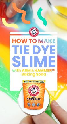 Kids will go crazy for this homemade Tie Dye Slime made with ARM & HAMMER™Baking Soda. Start with 4 small bowls. of clear school glue and tsp of baking soda into each; Add drops of food coloring, then stir. Diy Projects For Kids, Diy For Kids, Crafts For Kids, Craft Projects, Project Ideas, Craft Ideas, Summer Activities, Craft Activities, Toddler Activities