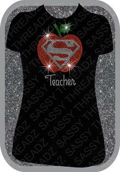 Super Teacher Rhinestone Tee on Etsy, $26.00