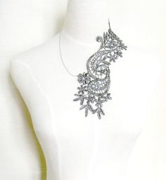 large oversized dark silver lace necklace art deco by artsgifts