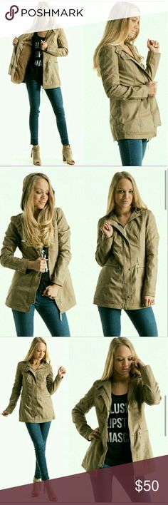 Khaki utility jacket with faux fur lining This utility jacket comes with a detachable hood,  multiple pockets, and double closure with buttons for added warmth. The jacket is lined with faux fur to keep you warm all winter long. Fashionomics Jackets & Coats Utility Jackets