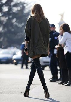 f181bba93d7597 Utility army jacket and thigh high leather boots street style.