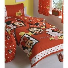 Childrens/Kids Minnie Mouse Reversible Quilt/Duvet Cover Bedding Set (Single Bed) (Red) From Universal Textiles