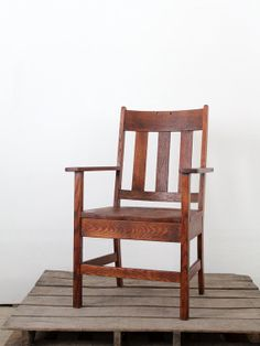 Antique Mission Chair, Arts & Crafts Wood Chair