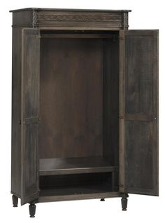 Amish Eminence Wardrobe The elegance of the Eminence is sure to draw you in. Detail in the woodworking is graceful and stunning. Available in 6 wood types. Fine wood storage for bedroom. #wardrobe #bedroomstorage #Amishfurniture