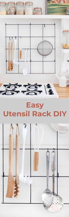 Wire utensil rack DIY #easydiy #kitchen #utensilrack