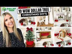 10 WOW Dollar Tree Christmas DIYs...No Skill Required!! - YouTube