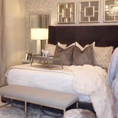 Alot of people wonder if we sleep on our beds with all these pillows and blankets on top - bedroom ideas Upholstered Bed Decor, Bed Decor, Glam Bedroom Decor, Bedroom Inspirations, Luxurious Bedrooms, Master Bedrooms Decor, Bedroom Decor, Upholstered Beds, Room Ideas Bedroom