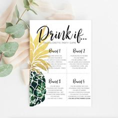 Printable 'Drink If' Bachelorette Party Game Fun Pineapple Print, Gold Pineapple, Hen Party Games, Start The Party, Tropical Bridal Showers, Floral Save The Dates, Bachelorette Party Games, Matching Games