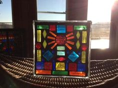 Stained Glass Mosaic Glass Blocks for $35 at Paper Collector in St Cloud www.colorfulgirl.com Mosaic Glass, Stained Glass, St Cloud, Glass Blocks, Dreamcatchers, Suncatchers, Fun Projects, Mosaics, Cube