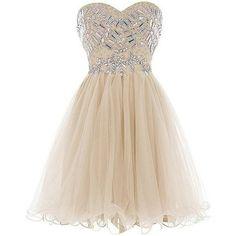 SimpleDressUK Women's Short Beaded Sweetheart Tulle Christmas Dresses ❤ liked on Polyvore featuring dresses