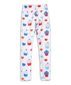 Loving this White & Blue Cupcake Leggings - Toddler & Girls on #zulily! #zulilyfinds