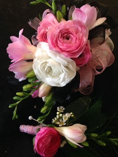 wristlet corsage and boutonniere: white and pink ranunculus, pink freesia, white waxflower