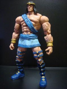 this is a marvel legends Gilgamesh Custom Action Figure he was made by figure realmer eddiegrayce's customs he used a marvel legends Hercules body and a legendary comic book heroes conan head happy pinning