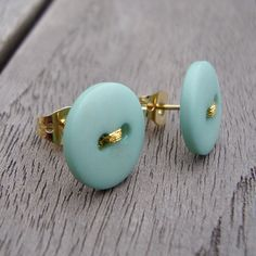 mint blue and gold button earrings