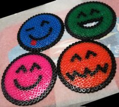 Smiley coasters hama beads by El Rincón de BELAME