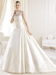 Lace Bodice Ruched Waist La Sposa Wedding Dress Iola DimitraDesigns.com