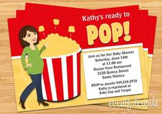 Popcorn Baby Shower Invitation  Printable by eventfulcards on Etsy, $15.99