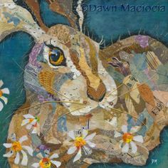 Hare in the Daisies - Torn Painted Paper Art www.dawnmaciocia.com www.facebook.com/collagecreations