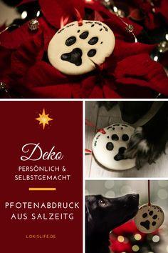 Mit dieser Anleitung machst du ganz leicht Pfotenabdrücke deines Hundes aus Salzteig selbst. Die Pfotenabdrücke eignen sich beispielsweise als Geschenk oder Weihnachtsschmuck für Hundehalter.    #LokisLifeBlog #Salzteig #Pfotenabdruck #DIY #Hund #selbstgemacht #weihnachtsdeko Dog Walking, Animals And Pets, Christmas Ornaments, Holiday Decor, Inspiration, Diy, Apollo, Community, Cool Crafts
