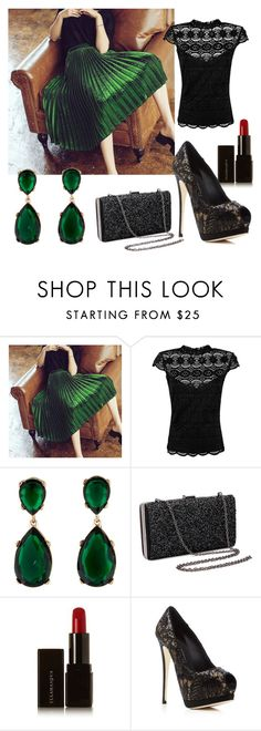 """Love red lippy with a green outfit"" by k-newall on Polyvore featuring Marciano, Kenneth Jay Lane, Illamasqua and Giuseppe Zanotti"