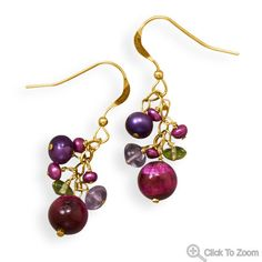 Gold French Wire Plum Earrings; $38.95