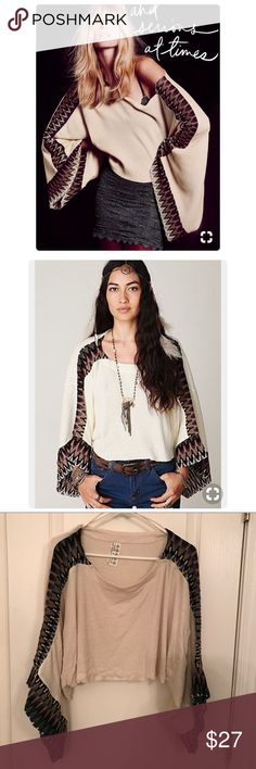 """Free People """"Magic Thermal Kaftan"""" VGUC. Raw hems. Cropped style. Could also work for a size small. Free People Tops"""