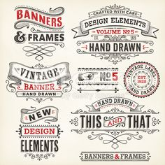 Vintage frames and banners for hand drawn royalty-free stock vector art