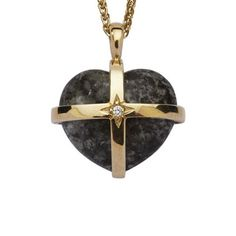 This 18ct Gold, Bluestone and Diamond Pendant is exquisitely crafted by hand by master jewellers. The heart is made of genuine Bluestone from the Preseli Hills in Pembrokeshire, Wales. The 18 carat gold cross is set with a diamond. Hung on a delicate 18 inch gold chain, the pendant is a striking accessory that is guaranteed to make the wearer feel very special.   http://www.english-heritageshop.org.uk/jewellery/18ct-gold-bluestone-diamond-heart-pendant