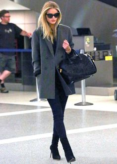 Rosie Huntington Whiteley street style in a blazer with basics, Givenchy bag and Chanel pearl sunglasses