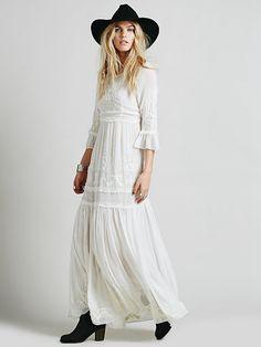 Bohemian Embroideried maxi dress Dresses Length: Floor-Length Neckline: V-Neck Silhouette: Fit and Flare Sleeve Length: Three Quarter