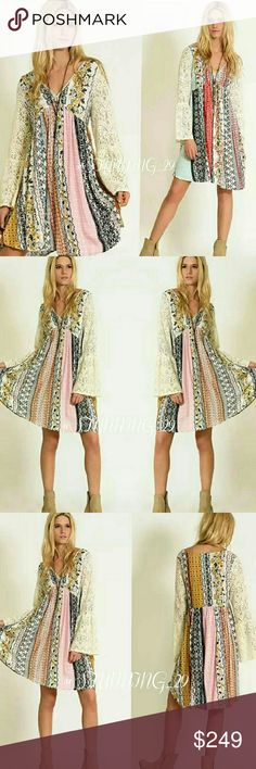 BOHO LACE BELL SLEEVE PRINTED DRESS **THESE DRESSES ARE ARRIVING ON TUES OCT.11** (HIT LIKE NOW FOR A SHIP DISCOUNT !!) CALLING ALL BOHO LOVERS! THESE ARE SO GORGEOUS!  THIS LISTING IS FOR THE COLOR CALLED  (MUSTARD COMBO) LOVE THE DETAILED COLORS IN THESE & THE L/ S BEAUTIFUL LACE BELL SLEEVES. SIZING WILL BE IN THE COMMENT AREA  (BUNDLE 3 ITEMS FOR A 25% DISCOUNT ) ADDITIONAL DETAILS COMING SOON Botique  Dresses Mini