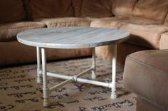 Coastal coffee table, Round Industrial Coffee Table, Reclaimed Wood Furniture,,  - Free Shipping