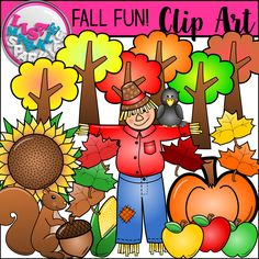 This vibrantly colored fall and autumn clipart collection features 22 color graphics and 10 black and white versions, totaling 32 graphics! The set includes a pumpkin, apples, an acorn, corn, scarecrow, a cute little crow, colorful fall trees, fall maple leaves, a sunflower, and a squirrel! Perfect for all your fall teaching activities and classroom decorations! All images are 300 DPI with transparent backgrounds. Commercial and personal use acceptable! Enjoy!!
