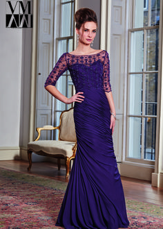 VM by Mori Lee 71009 - Plum Beaded Mother of the Bride Dresses Online
