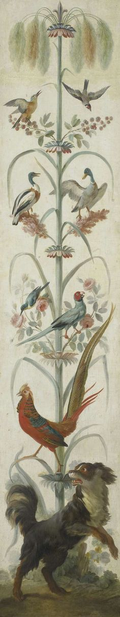 Decoratieve schildering met planten en dieren, anoniem, 1760 - 1799