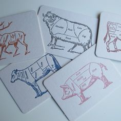 Cuts of Meat - Letterpress Postcards  would love to get these images to pain on canvas or wood