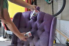 You can paint your furniture fabric with Krylon Spray Paint! Cassandra Design: Delicious Purple Tufted Halloween Wingback Chairs