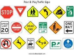 traffic signs to print (glue to Popsicle sticks, set on water bottle cap base)