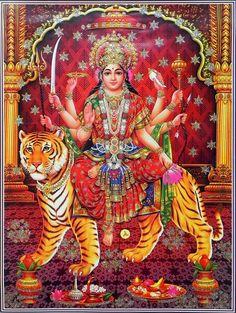 Bhagawati - (Poster with Glitter) (Reprint on Paper - Unframed)) Durga Shri Ganesh, Durga Maa, Shiva Shakti, Lord Ganesha, Hanuman, Maa Kali Images, Durga Images, Ganesh Images, Kali Goddess