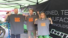 """The fans at Crankworx scored big time on some of our """"Sleep Naked' t-shirts!"""