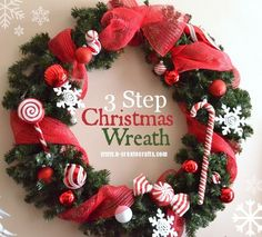 3 Step Christmas Wreath - just need some cheap dollar store ornaments and ribbon!